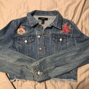 Rose Embroidered Cropped Denim Jacket